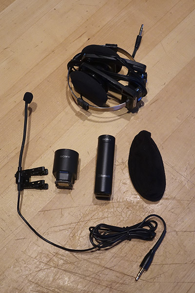 Here's the full wireless system, including the Kloss headphones all folded up.